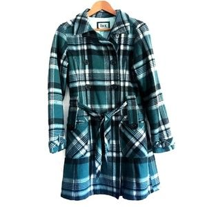 Urban Outfitters LUX Plaid Wool Long Pea Coat